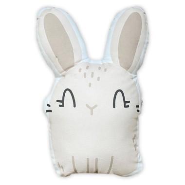 Dwustronna, puszysta poduszka w kształcie królika, wykonana z miękkiej bawełny, wypełniona antyalergiczną włókniną.