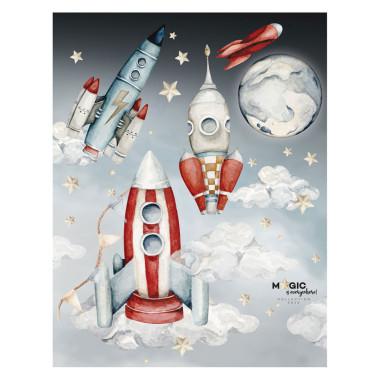 Naklejka z rakietami-kosmos w pokoju dziecka