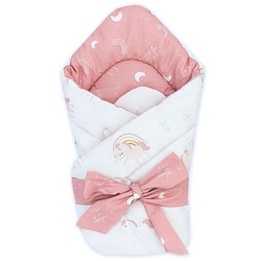 Dwustronny rożek niemowlęcy (becik) wykonany z wysokiej jakości bawełny w Jednorożce.