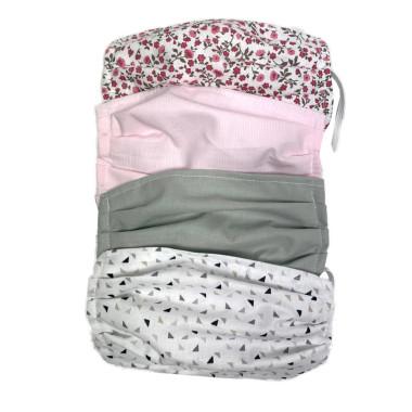 Zestaw maseczek bawełnianych. Maski natysmogowe, ochronne, korona wirus. Wzory neutralne, kwiatowe- dla kobiety, mężczyzny i dziecka