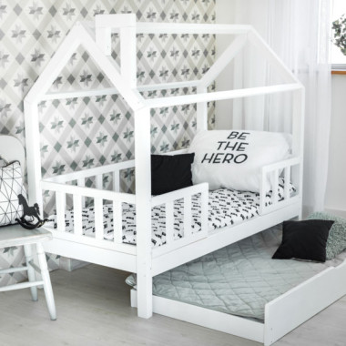 Łóżko domek Kiri Kolor +Barierki +Szuflada Nowość