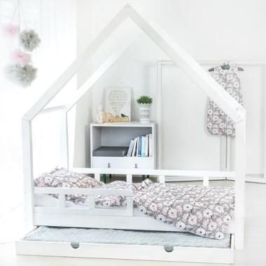 Łóżko domek drewniane Maya +kolor +barierki +szuflada