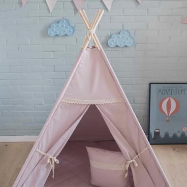 Różowy namiot tipi do pokoju dziecka. Z koronką.