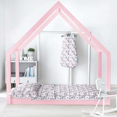 Łóżko domek drewniane Maya Kolor różowe