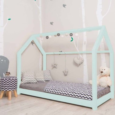 Łóżko domek Leo w stylu skandynawskim Mięta