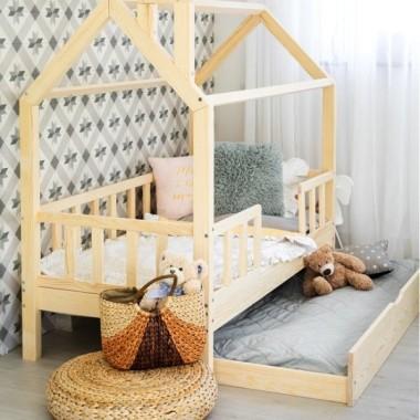 Łóżko domek drewniane Kiri 5-Barierek Wysoka Szuflada