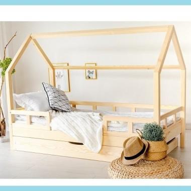 Łóżko domek drewniane LuLu 5-Barierek Wysoka Szuflada 20cm
