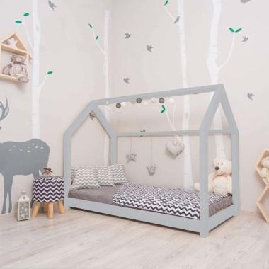 Łóżko domek Leo w stylu skandynawskim szare