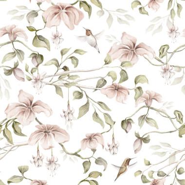 Romantyczna tapeta z różowymi kwiatami i gałązkami na białym tle. Tapeta do sypialni, do pokoju dziecka.