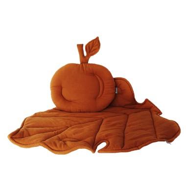 Podusia w kształcie jabłuszka, Jabłonkowy liść jako kocyk i mata w jednym!ZESTAW KOCYK/KOŁDERKA Z PODUSZKĄ DO WÓZKA Beż wyjątkowy, niepowtarzalny elegancki
