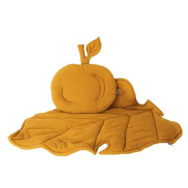 Podusia w kształcie jabłuszka, Jabłonkowy liść jako kocyk i mata w jednym! ZESTAW KOCYK/KOŁDERKA Z PODUSZKĄ DO WÓZKA Musztardowy / żółty/złoty wyjątkowy, niepowtarzalny elegancki.