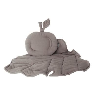Podusia w kształcie jabłuszka, Jabłonkowy liść jako kocyk i mata w jednym!ZESTAW KOCYK/KOŁDERKA Z PODUSZKĄ DO WÓZKA Szary wyjątkowy, niepowtarzalny elegancki.