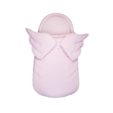 Aksamitny śpiworek/ becik dla noworodka lub niemowlaka w kolorze różowym ze skrzydłami