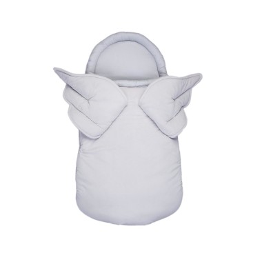 Aksamitny śpiworek/ becik dla noworodka lub niemowlaka w kolorze szarym ze skrzydłami.