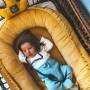 Kokon niemowlęcy/ dla noworodka welurowy ozdobny, elegancki. Welur żółty