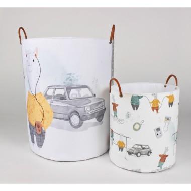 Komplet 2 pojemników/ koszy na zabawki z autem do pokoju dziecka- pokój chłopca Fiat 126P