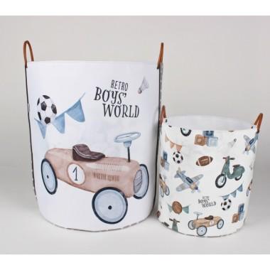 Komplet 2 pojemników/ koszy na zabawki do pokoju dziecka- pokój chłopca