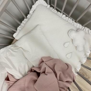 Pościel do łóżeczka, kołyski/ wózka dla niemowlaka/ noworodka. Pościel z falbanką dla dziecka. Biała.