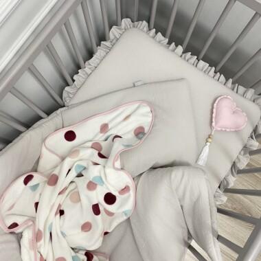PLUMETI KOMPLET POŚCIELI do łóżeczka Z WYPEŁNIENIEM JASNY SZARY