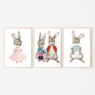 Plakat obrazek Rodzinka króliczków