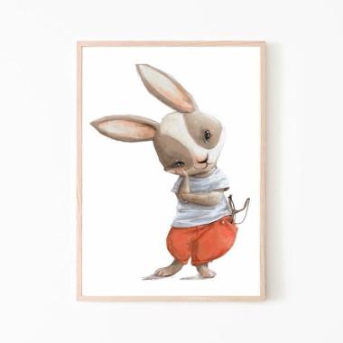 Plakat obrazek króliczek z procą