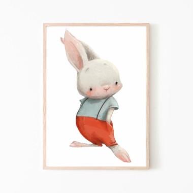 PLAKAT OBRAZEK DLA DZIECI - KRÓLICZEK ŁOBUZIAK  - króliczek w czerwonych spodenkach