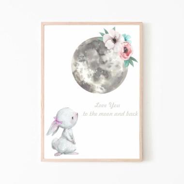Plakat obrazek króliczek i księżyc nr.1