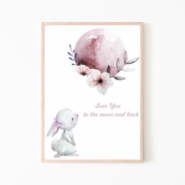 Plakat obrazek króliczek i księżyc nr.2