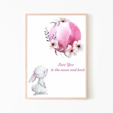 Plakat obrazek króliczek i księżyc nr.3