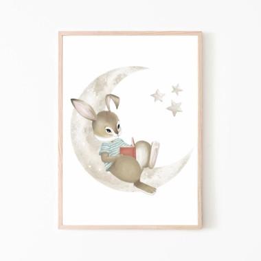 Plakat obrazek królik księżyc gwiazdki