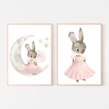 Plakat obrazek króliczek księżyc gwiazdki