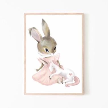Plakat obrazek króliczek jednorożec