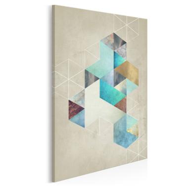 Heksagonalny przypływ - nowoczesny obraz na płótnie - w pionie