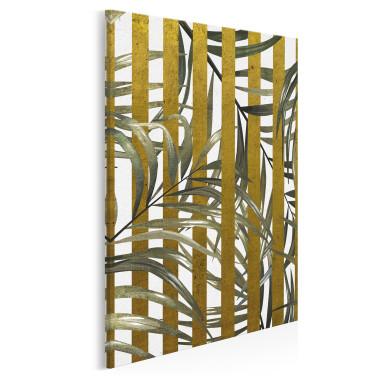 Złoty azyl - nowoczesny obraz do sypialni - w pionie