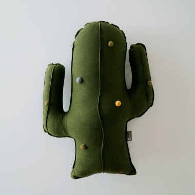 Lniany duży kaktus dla dziecka-ozdoba/ przytulanka do pokoju dziecka w kolorze zielonym.