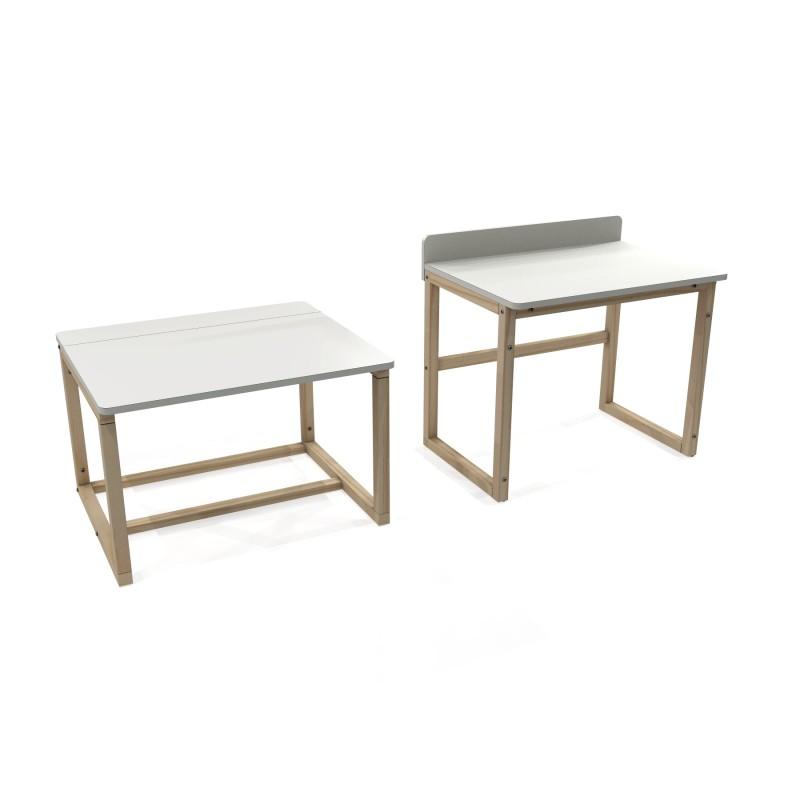 Mebel do pokoju dziecka. Białe minimalistyczne, proste biurko, stolik. na drewnianych nogach