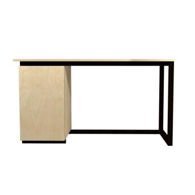 Ręcznie wykonane biurko ze sklejki i drewna.