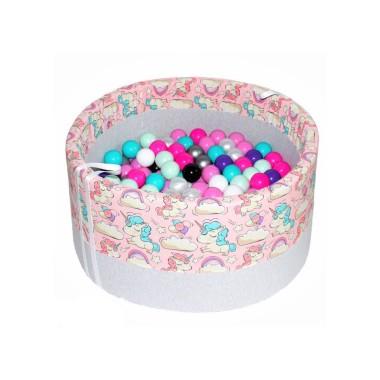 Suchy basen z kulkami – Jednorożce na różowym tle
