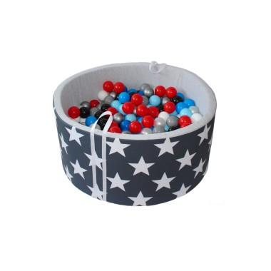 Suchy basen z kulkami do zabawy dla dzieci - szary w białe gwiazdki