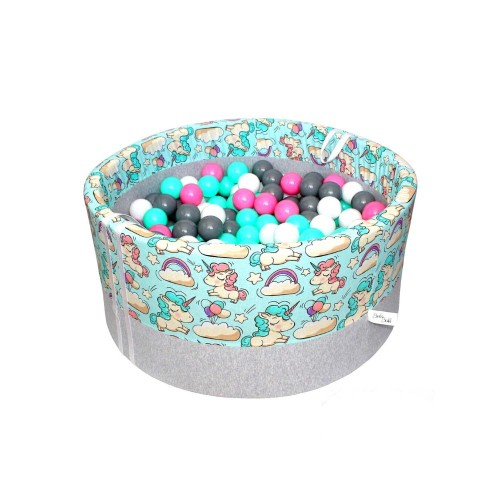 Suchy basen z kulkami – Jednorożce na miętowym tle