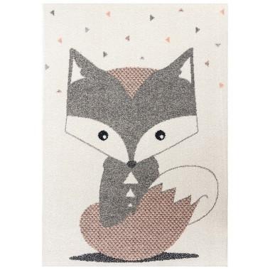 Kremowo - szaro - koralowy dywan z motywem uroczego liska to wspaniała propozycja do dziecięcego pokoju.