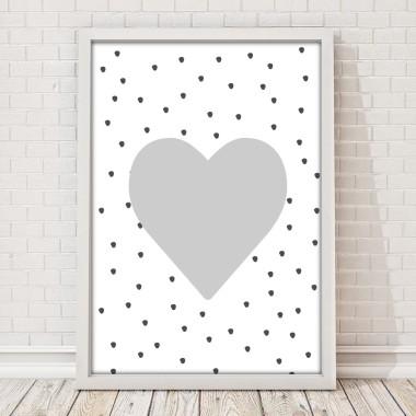 Plakat serce w kropach
