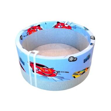 Suchy basen – Autka na niebieskim tle. Prezent dla dziecka.