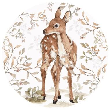 Deer In A Circle- naklejka/ tapeta na ścianę do pokoju dziecka-jelonek