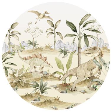 Dino In A Circle- naklejka/tapeta z dinozaurami do pokoju dziecka
