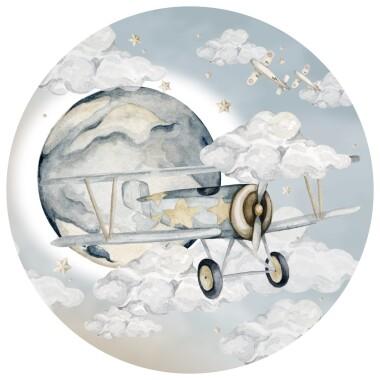 Plane In A Circle- okrągła naklejka do pokoju dziecka-samolot