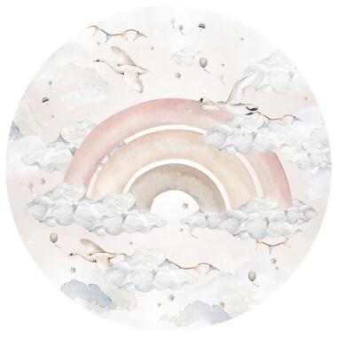 Rainbow In A Circle: Girl Naklejka na ścianę do pokoju dziecka