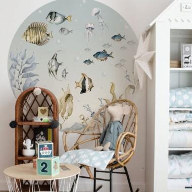 Sea World In A Circle- naklejka/tapeta do pokoju dziecka- rybki/ akwarium na ścianę