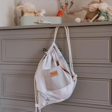 Plecaczek dla dziecka ze sznureczkami w balony. Do przedszkola/na kapcie/na wakacje.