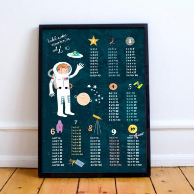 Kosmos. Tabliczka mnożenia II- plakat do pokoju dziecka